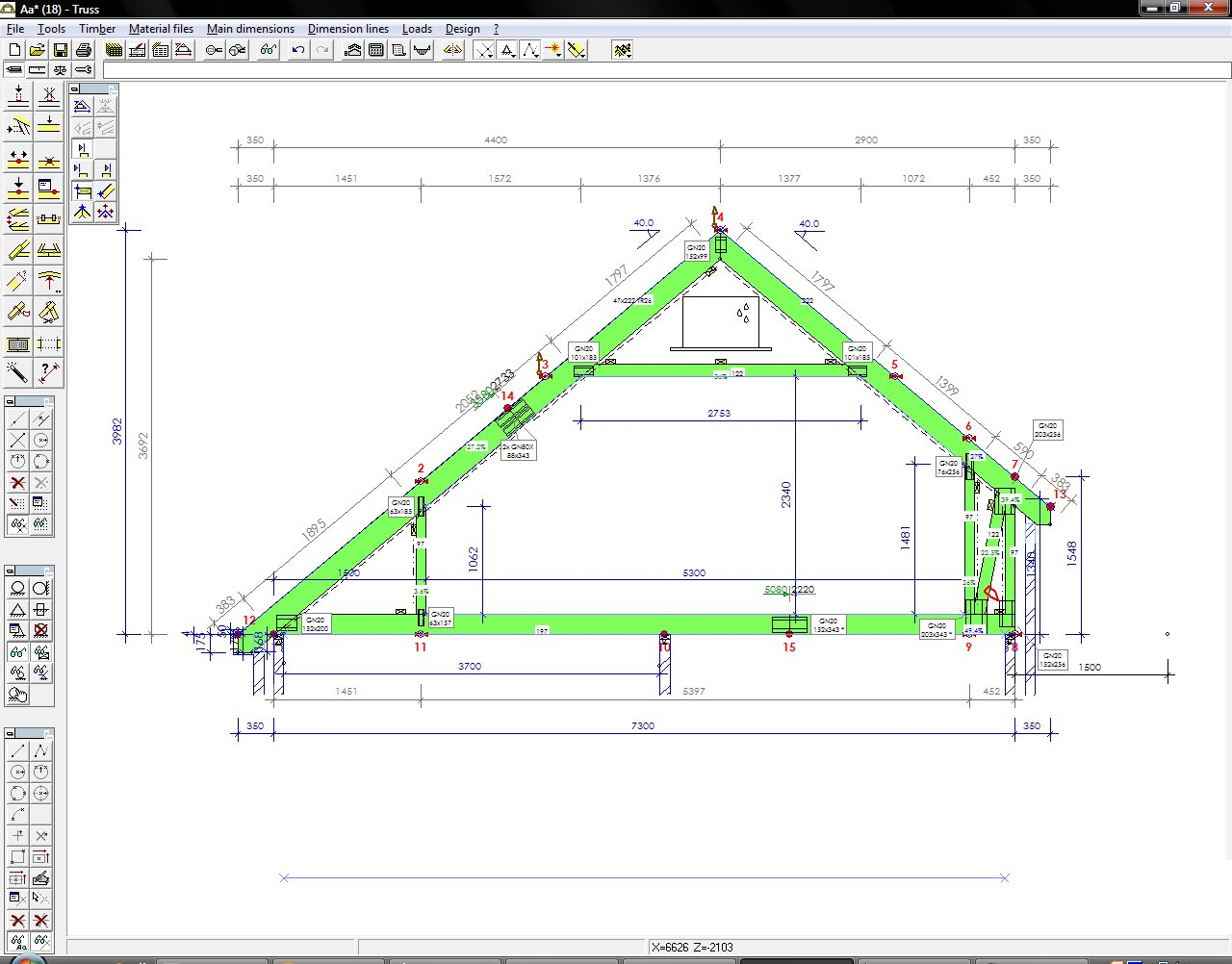 Room In Roof Truss Size Table