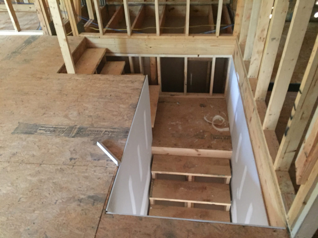 Garage Storage Looking Down Stairs From Unfinished Bonus Room With Proportions 1024 X 768