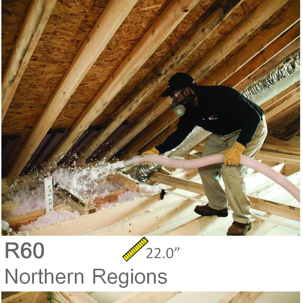 Installed R 60 Fiberglass Blown In Attic Insulation R 60 1000sqft intended for sizing 1000 X 1000