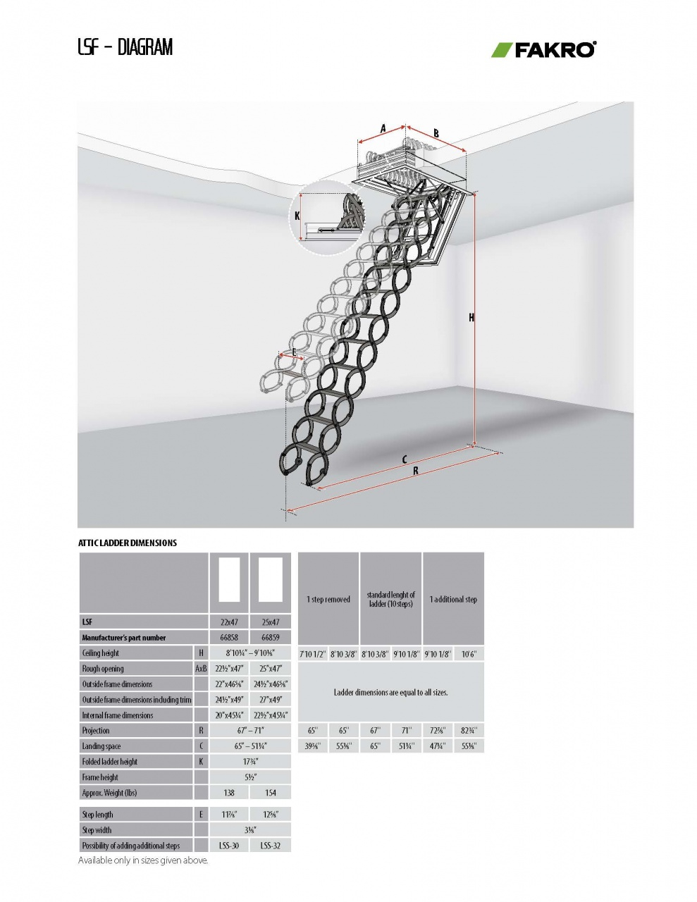 Metal Scissor Attic Ladders Lst Lsf Fakro pertaining to size 989 X 1280