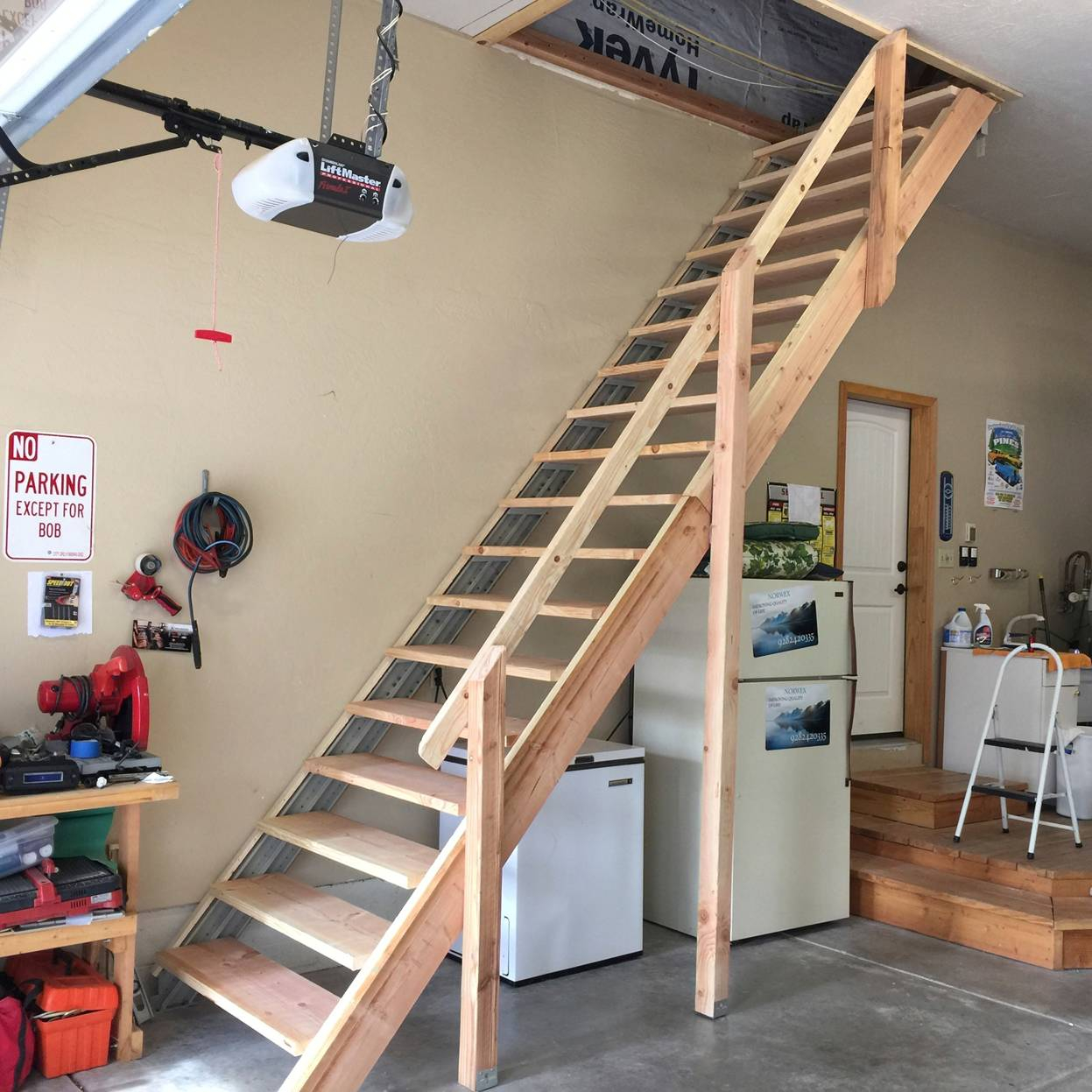 Sliding Attic Stairs Rail New Folding Attic Stairs With Handrail Intended  For Measurements 1247 X 1247