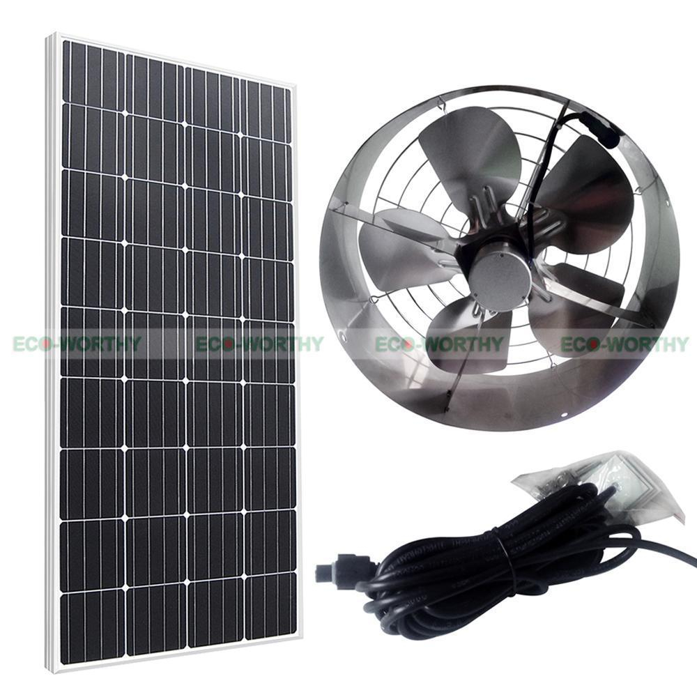 Solar Powered 65w Attic Ventilator Roof Vent Fan W 100w 12v Mono pertaining to dimensions 1000 X 1000