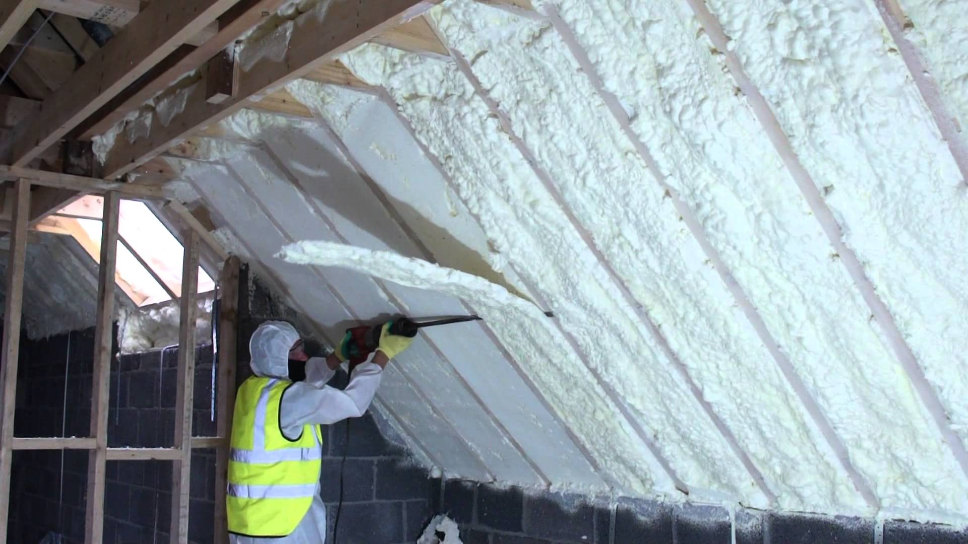 This old house spray foam insulation attic attic ideas spray foam of attic using fusion sprayfoam insulation being cut throughout proportions 1920 x 1080 solutioingenieria Gallery