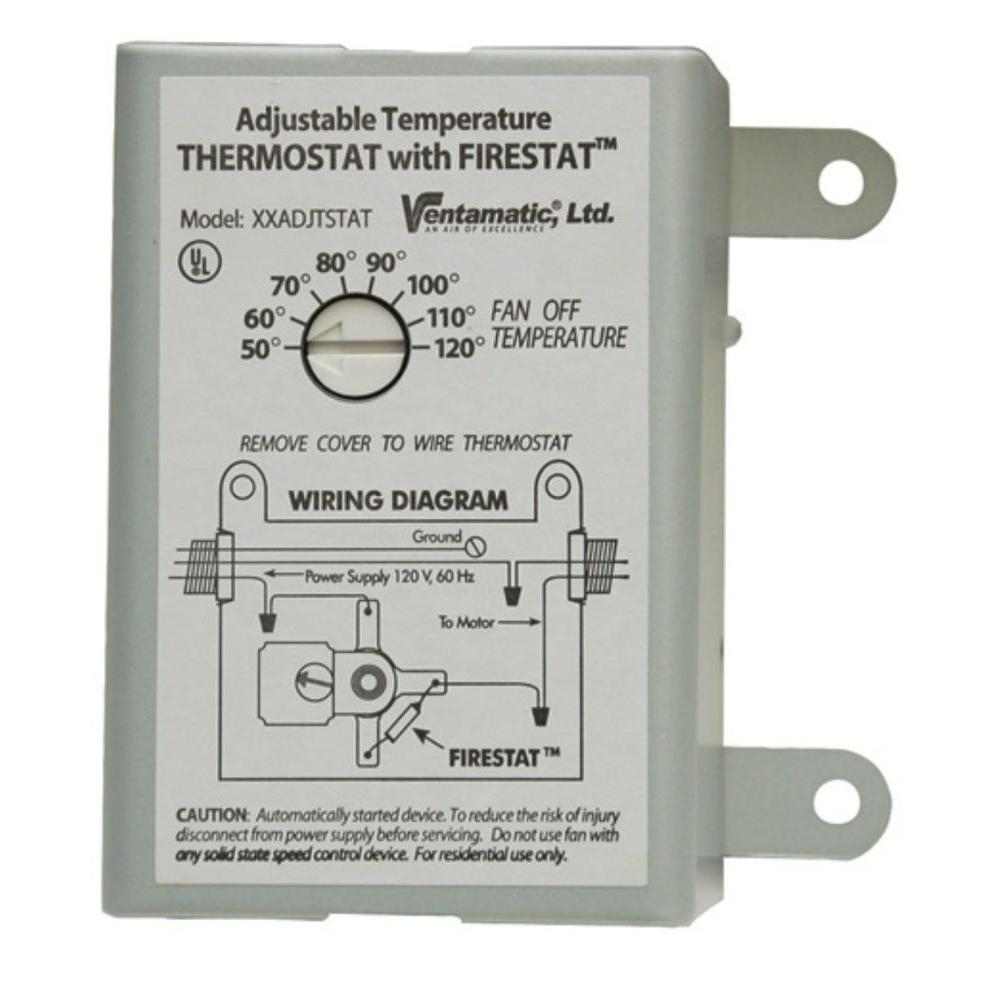 Ventamatic Cool Attic 10 Amp Programmable Thermostat With Firestat for size 1000 X 1000