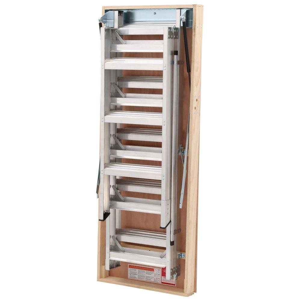 Werner 12 Ft 25 In X 66 In Aluminum Attic Ladder With 375 Lb throughout size 1000 X 1000