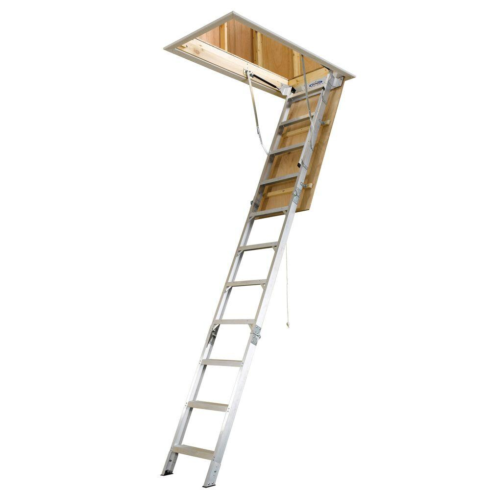 Werner 8 Ft 10 Ft 25 In X 54 In Aluminum Attic Ladder With within dimensions 1000 X 1000