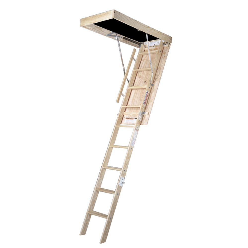 Werner 8 Ft 25 In X 54 In Wood Attic Ladder With 250 Lb Within Size