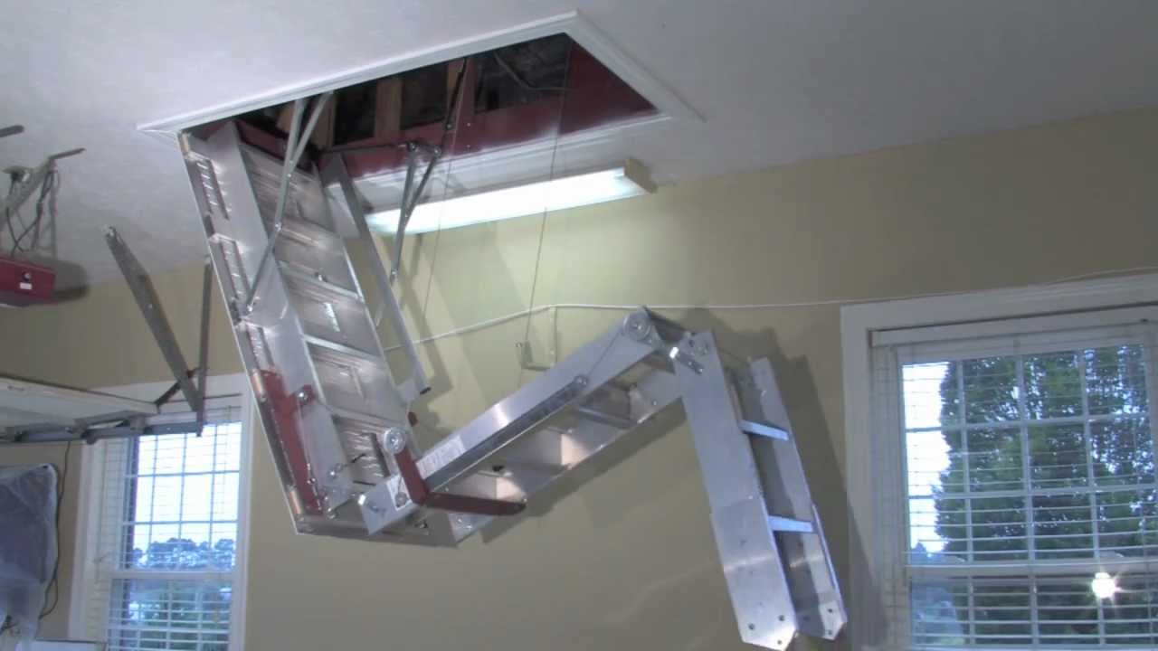Folding Attic Stairs With Handrail Attic Ideas