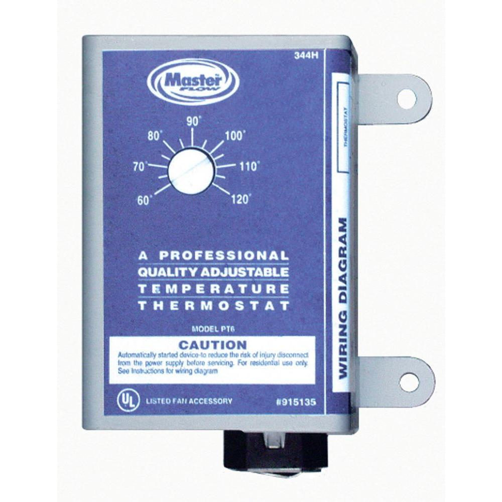 Master Flow Manually Adjustable Thermostat For Power Vent Pt6 throughout proportions 1000 X 1000