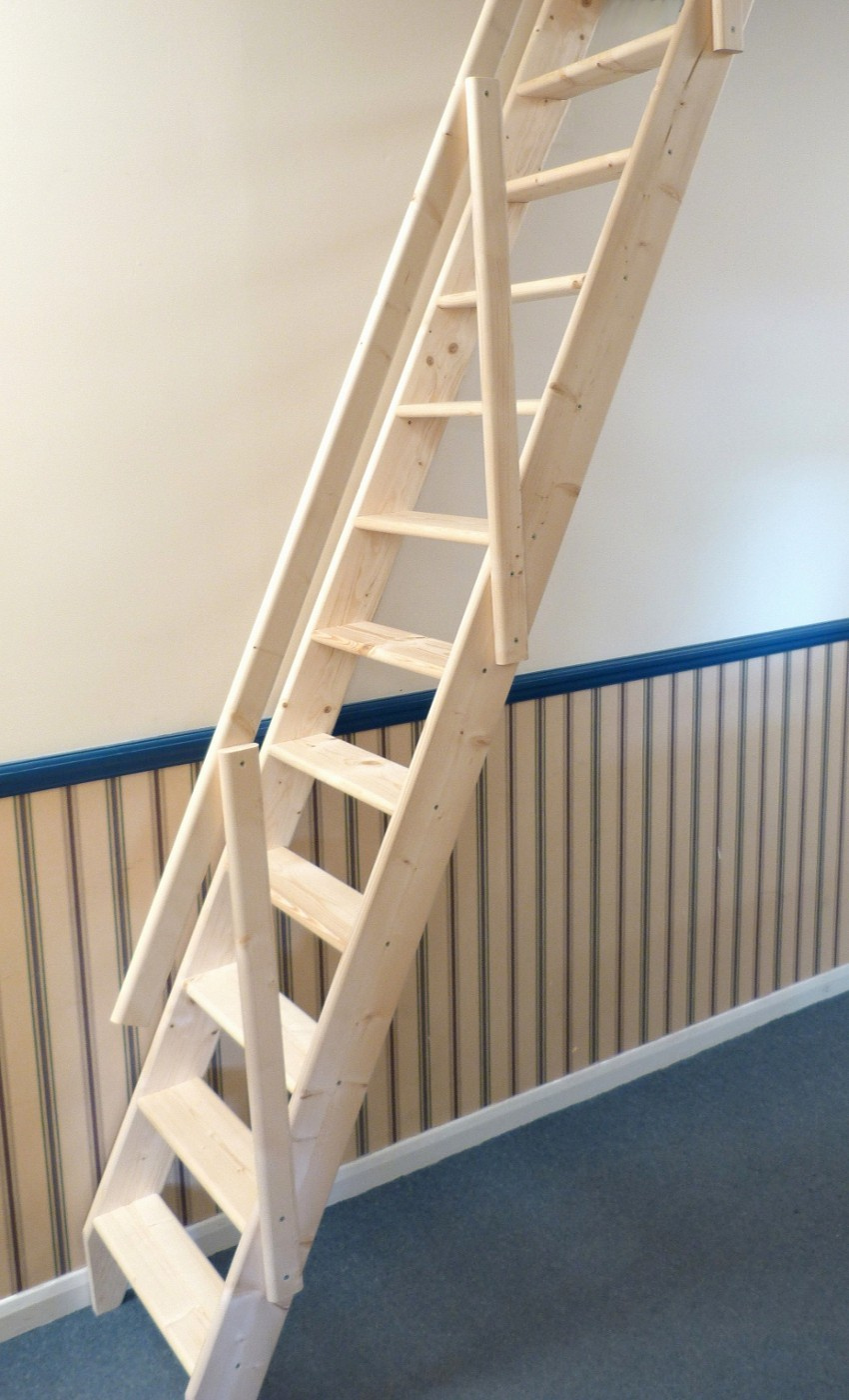 Folding Attic Stairs With Handrail • Attic Ideas